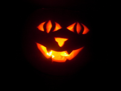 One of my wolve-themed pumpkins...
