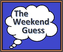 """Eine Gedankenblase mit dem Schriftzug """"The Weekend Guess"""" auf blauem Grund und in einem braunen Rahmen"""