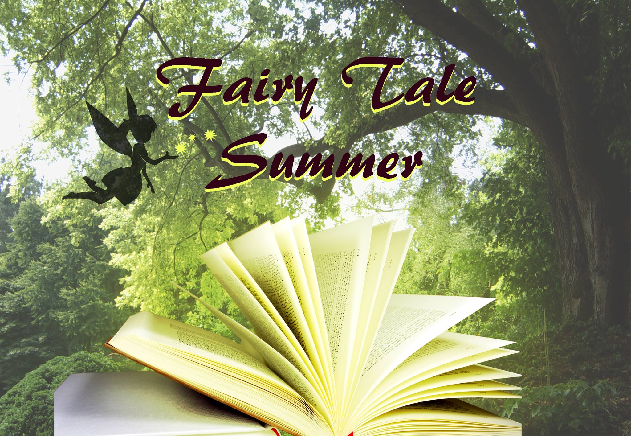 The old Fairy Tale Summer banner The shadow of a fairy sprinkling sparkle onto an open book and the byline Fairy Tale Summer. The Background is a green forest.