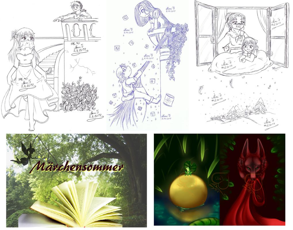 Die Postkarten des Märchensommers. Oben als Kulizeichnung: Aschenputtel, Rapunzel und Frau Holle. Unten das alte Banner und digitale Zeichnunge vom froschkönig und Rotkäppchen