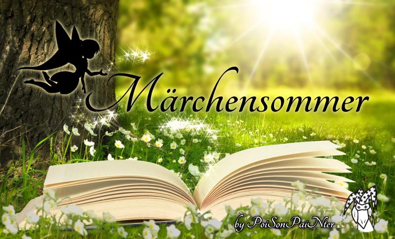 Das Märchensommer Banner zeigt eine Scherenschnitt-Fee, die Glitzer auf den verschnörkelten Schriftzug 'Märchensommer' über einem aufgeschlagenen Buch streut. Alles vor einer grünen Wiese neben einem Baum und Sonnenstrahlen im Hintergrund.