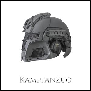 """Bild eines modernen Kampfschutzhelms mit Netzschutzmaske und Ohrenschüztern mit Unterschrift """"Kampfanzug"""""""