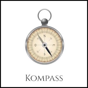 Bild eines Kompasses, der einer Taschenuhr ähnelnd, mit entsprechender Unterschrift.