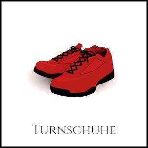 Bild von roten Turnschuhen mit entsprechender Unterschrift
