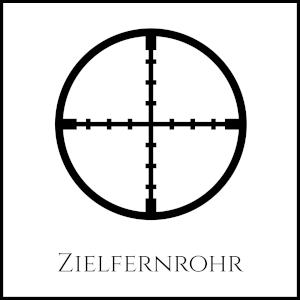 """Bild eines Fadenkreuzes mit Unterschrift """"Zielfernrohr"""""""