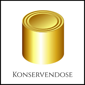 Bild einer goldenen Konservendose mit entsprechendem Untertitel
