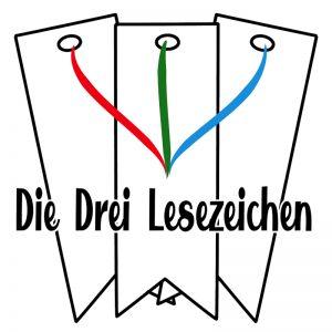 """Drei weiße Lesezeichen mit (v.l.n.r.) einem roten, grünen und hellblauem Band. Davor der Schriftzug """"Die Drei Lesezeichen"""""""