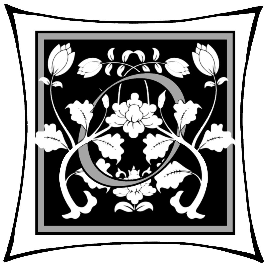 Ein O um dessen Kreis Ranken geschlungen sind auf schwarzem Grund und mitgrauen graden Rahmen und darum noch ein weißer eckiger Rahmen.